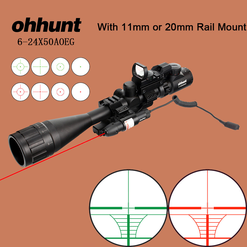 ohhunt Tactical Riflescope 6-24x50 AOEG Wire Reticle Optical Rifle Scope with Holographic 4 Reticle Dot Sight Green Red Laser round toe flat heel zipper ankle boots