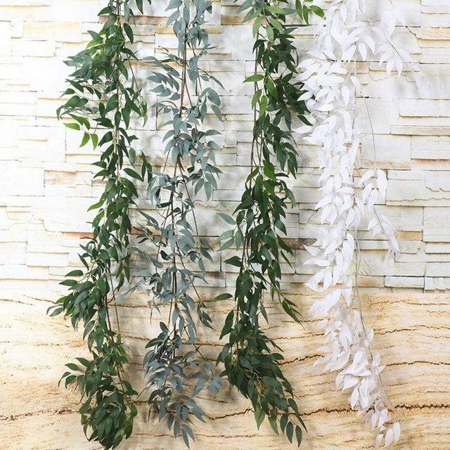 Plastic Artificial Flower Rattan string Artificial Ivy green Leaf Garland Plants Vine Fake Foliage Flowers Home Decor 3