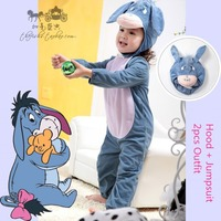 Genuine Deluxe Infant Kids Eeyore Donkey Cartoon Animal Theme Cosplay Clothing Child Halloween Costumes