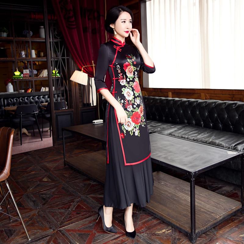 8004 De Plus À 8003 Robe Chinoise Main 3xl Femmes Cheongsam Col 8006 8005 Qipao Mandarin La Nouvelle Rayonne Arrivée Taille Bouton S Aodai Traditionnelle a1Iqw1BS