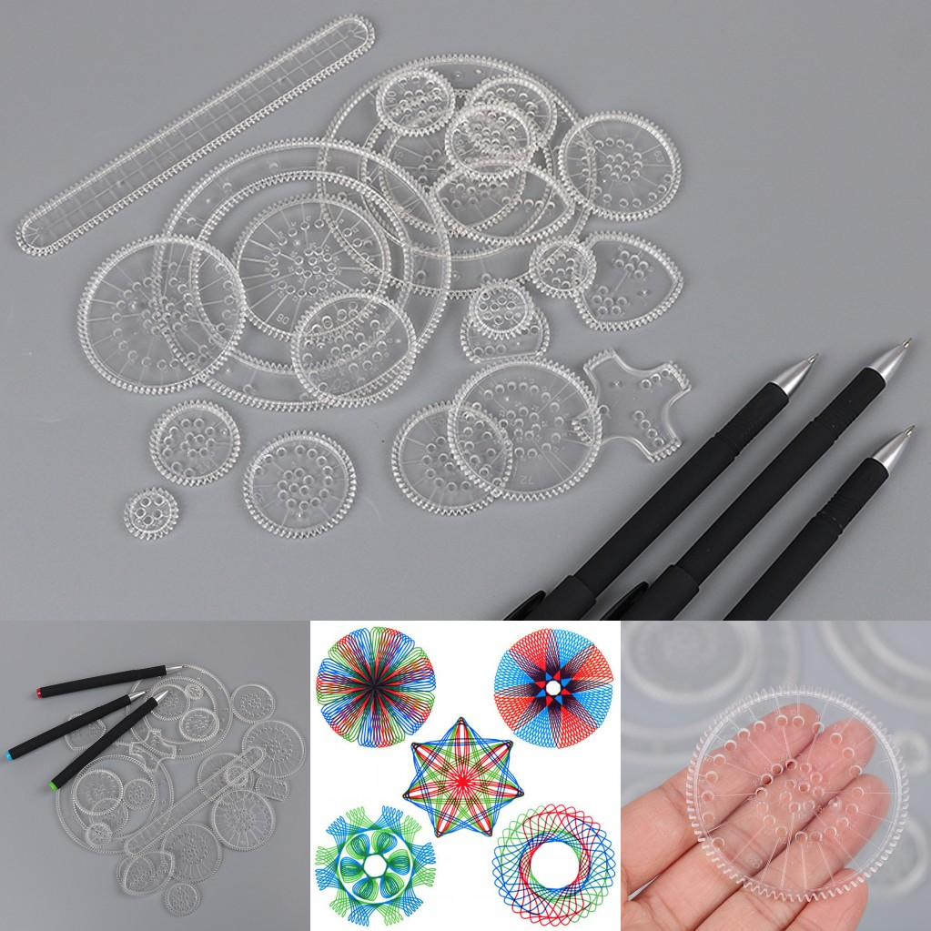 22 Drawing <font><b>Rules</b></font> +3 <font><b>Pen</b></font> Drawing Rulers Spirograph Set Spiral Designs Interlocking Gears Wheel Educational Toy DIY Painting Tools image