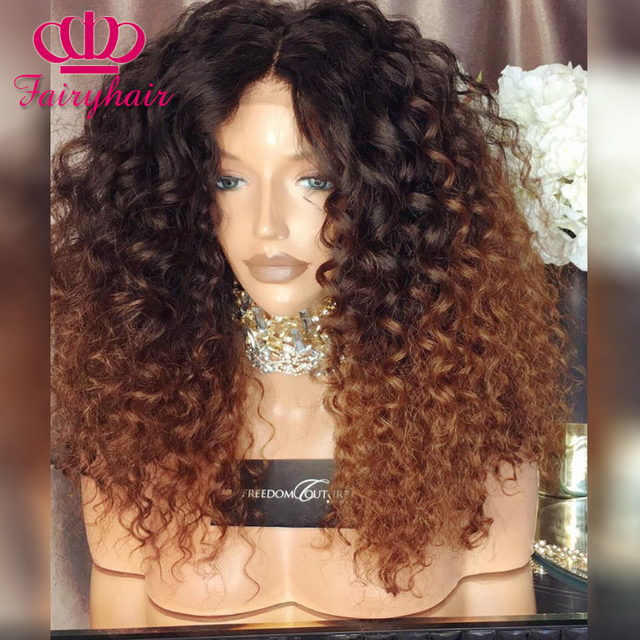 Ombre Curly Synthetic lace front wig kinky curl glueless heat resistant synthetic lace front wig for black women ombre brown wig