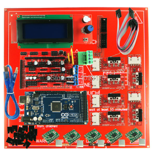 Reprap Ramps 1.4 Kit With Mega 2560 r3 + Heatbed mk2b + 2004 LCD Controller + A4988 Driver + Endstops For 3D Printer reprap ramps 1 4 mega 2560 heatbed mk2b 12864 lcd controller drv8825 mechanical endstop cables for 3d printer diy kit