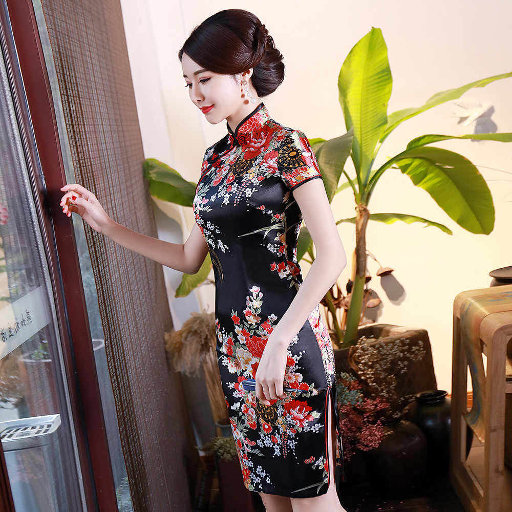 Czarny kwiat wydruku kobiety krótka, Slim Cheongsam Sexy wysokie dzielona tradycyjny strój chiński Plus rozmiar Rayon Qipao Vestidos S-6XL