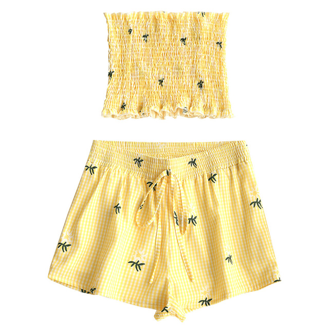 341c889663 STYLE Palm Tree Smocked Tube Top Gingham Shorts Set 2pcs Summer Boho Style  Ruffles Cropped Top High Waist Beach Shorts Suit