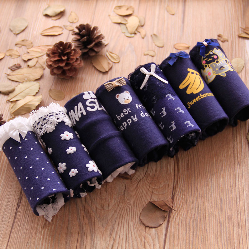 2018 Girls Underwear 7pc/lot lace lovely navy   panties   Bow Low Waist Briefs Young Girl teenagers Pants children students
