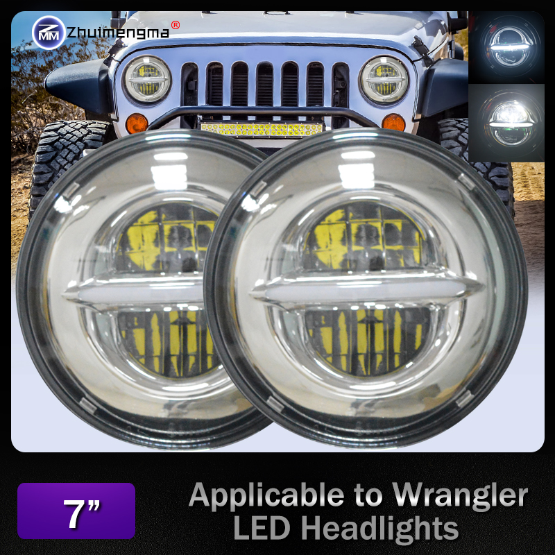 New pat For Land Rover Defender 7 Inch Round LED DRL Headlight 50W 7 Light For JeepWrangler Hummer lada niva 4x4 Suzuki Samurai ...