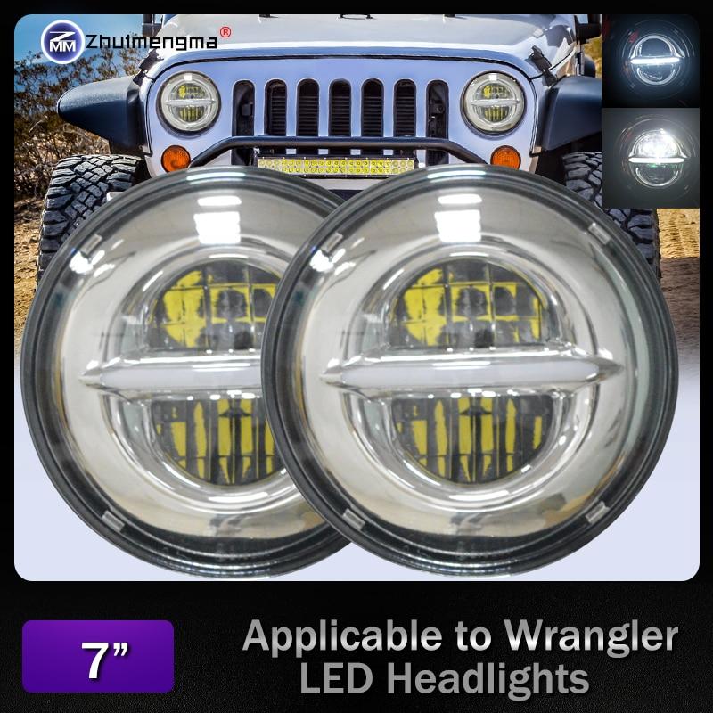 New pat For Land Rover Defender 7 Inch Round LED DRL Headlight 50W 7 Light For JeepWrangler Hummer lada niva 4x4 Suzuki Samurai