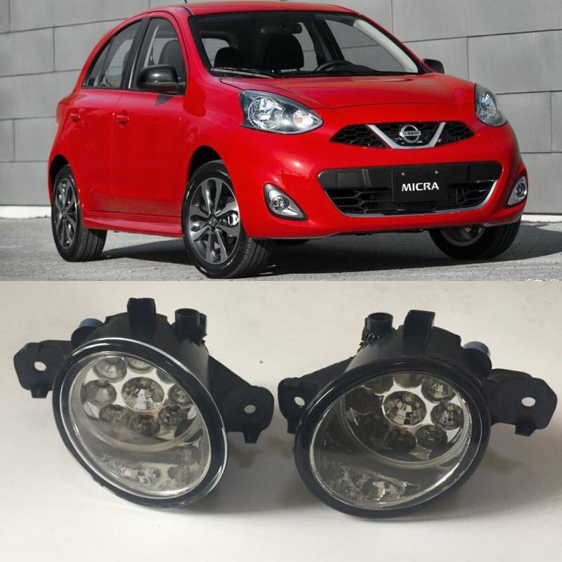 For Nissan March Micra K12 K13 2002 2016 9 Pieces Leds Fog Lights H11 H8 12V 55W Halogen LED Fog Head Lamp Car Styling