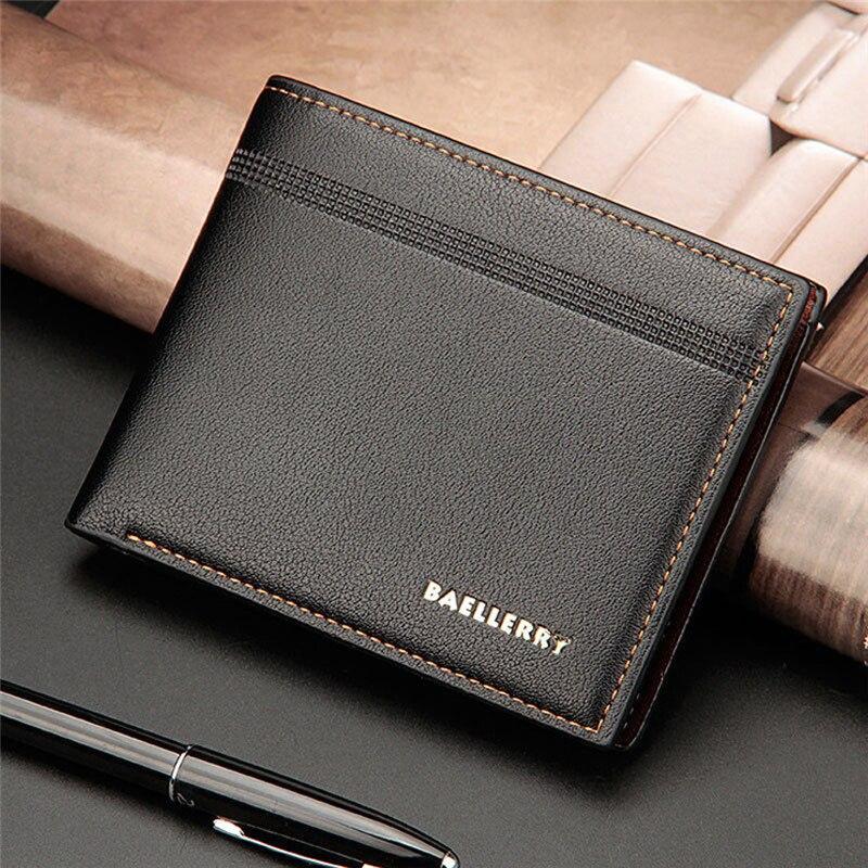 Billetera Hombre Men's Solid Black Coffee Color Business Leather Wallet Pocket Clutch Bifold Slim Purse