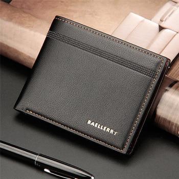Billetera para Hombre, Cartera de cuero de negocios de Color café negro sólido para Hombre, Cartera de bolsillo, cartera delgada plegable