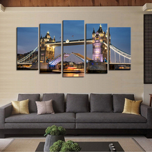 Unframed 5 Panels Classical Architecture Bridge Scenery Picture Print Painting Canvas Wall Art for Wall Decor Home Decoration