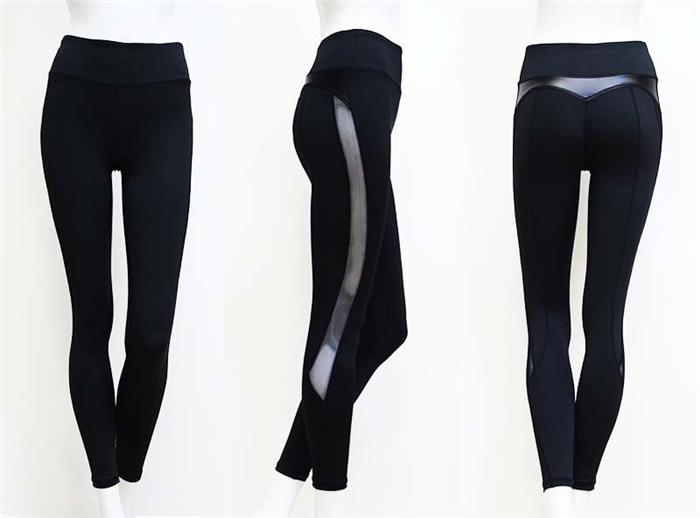 Black Fitness Legging Women Heart Workout Legginngs Femmle Mesh And PU Leather Patchwork Leggings Solid Pants 19