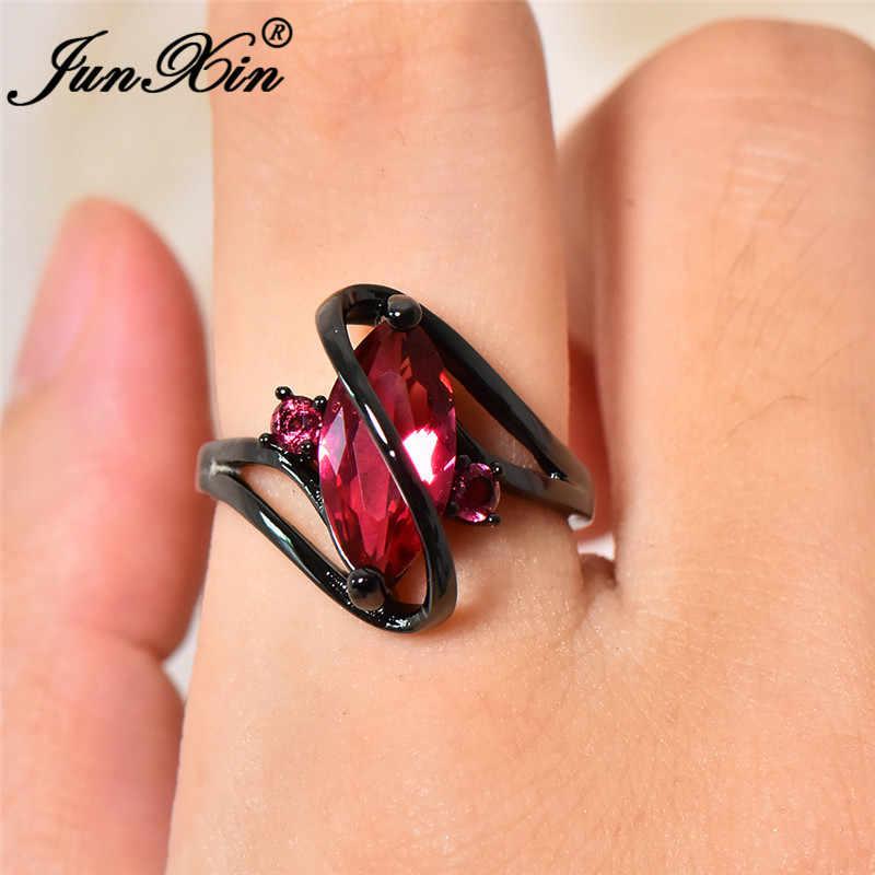 JUNXIN หญิง Marquise Multicolor หิน Rainbow Fire Birthstone แหวนผู้หญิงผู้ชายสีดำทองม้าแหวน Zircon CZ