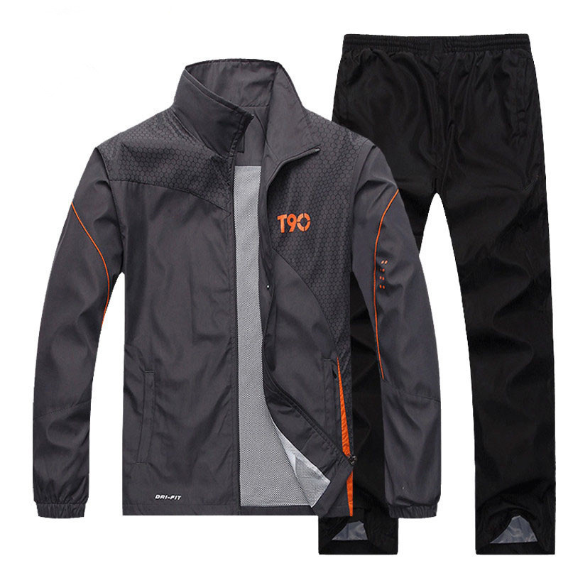 T90 Tracksuit Men 2019 Spring Sweatsuits Casual Jacket + Pant Track Suit Windproof Sportswear Men Clothing 2 Pieces Set L-4XL