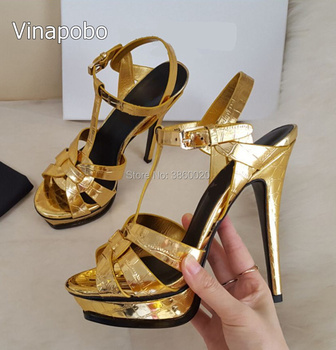 2018 Fashion Shiny Gold metal Leather Women Sandals Top Quality Corss Strap Buckles Summer Tribute Open Toe Stiletto Pumps Hot
