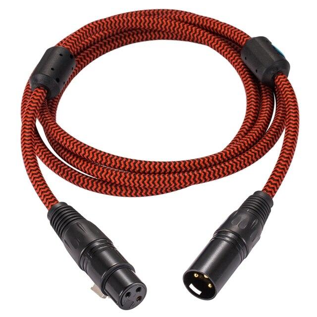 Cabo de extensão de alta fidelidade xlr para amplificador alto falante microfone regular 3 pinos xlr macho para fêmea equilibrada cabo trançado 1m 2m 3m 5m 8m