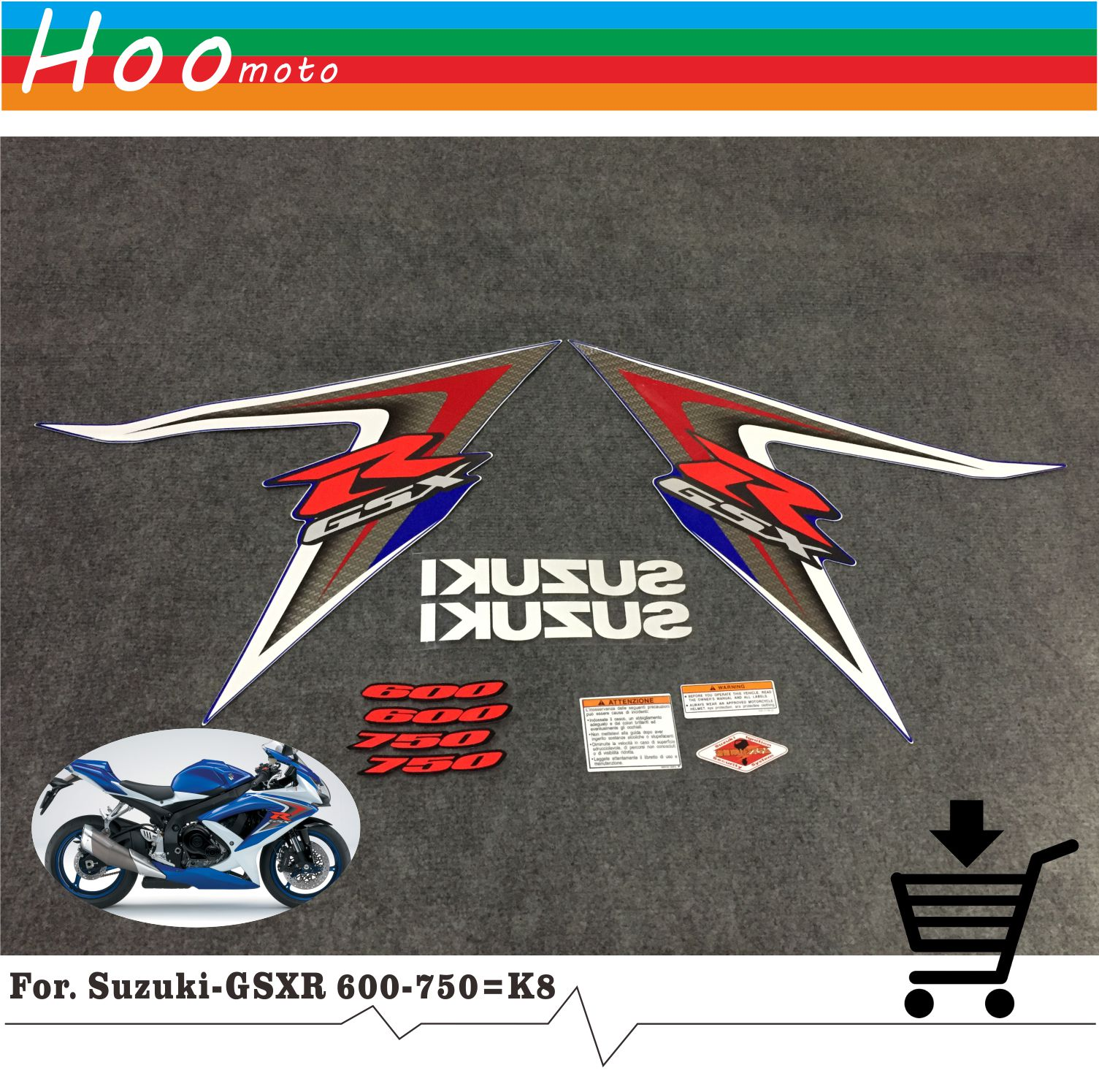 GSXR <font><b>GSX</b></font>-R <font><b>GSX</b></font> R <font><b>600</b></font> 750 K8 <font><b>2008</b></font> High Quality Decals Sticker Motorcycle Car-styling Stickers for Suzuki Decals Sticker MOTO image
