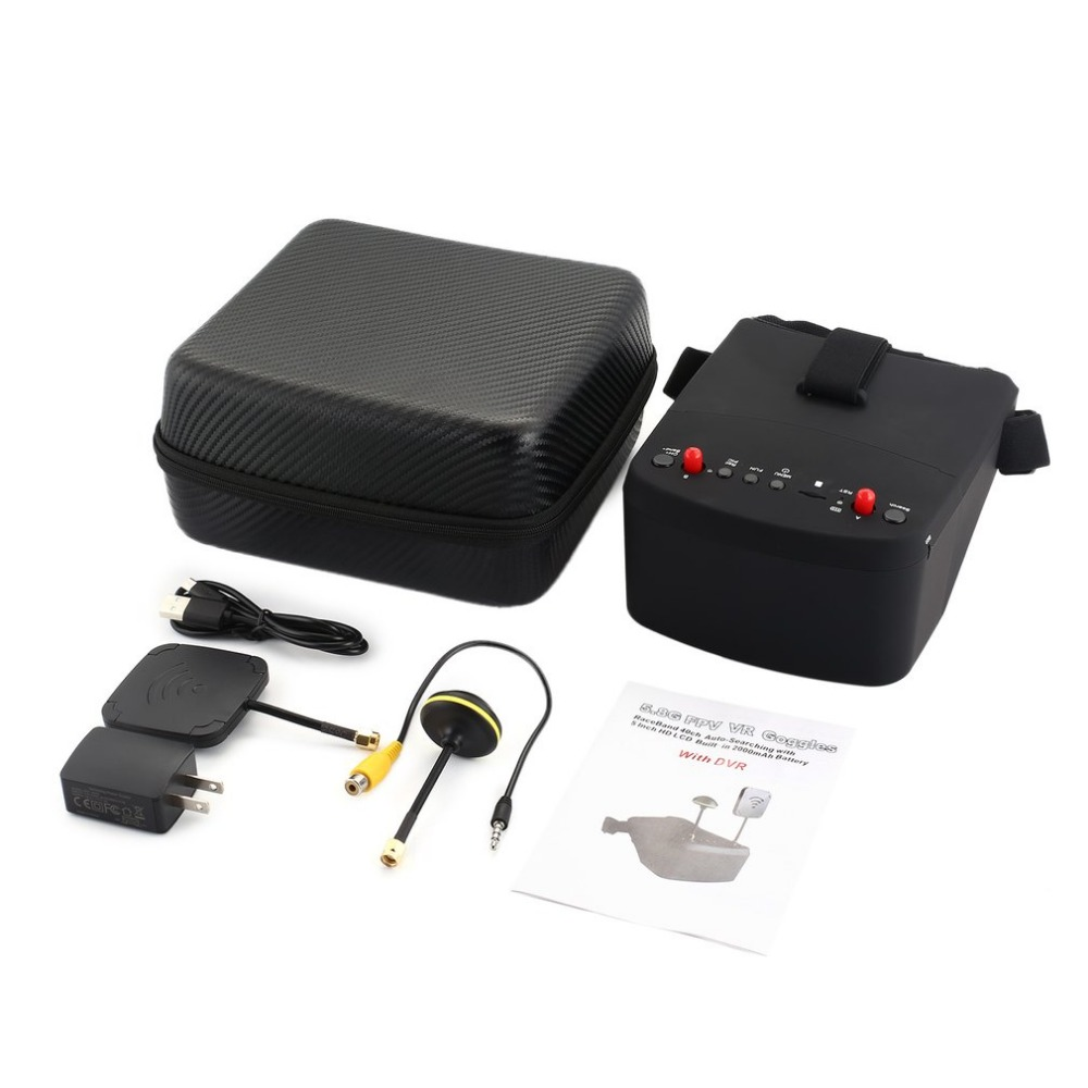LS-800D 5.8G 5in 40CH FPV Goggles Headset Receiver Monitor with HD DVR Dual Antenna Auto-searching for RC Racing Drone