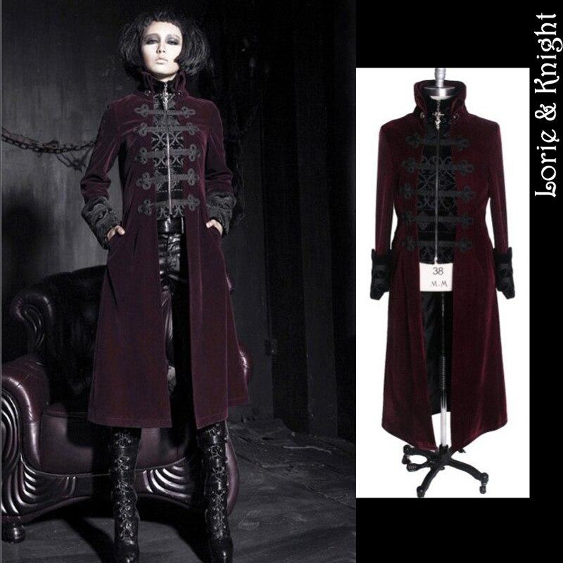 Gothic Punk Womens/Men False Two Piece Stand Collar Velveteen Jacket Coat Retro Royal Court Dress Coat