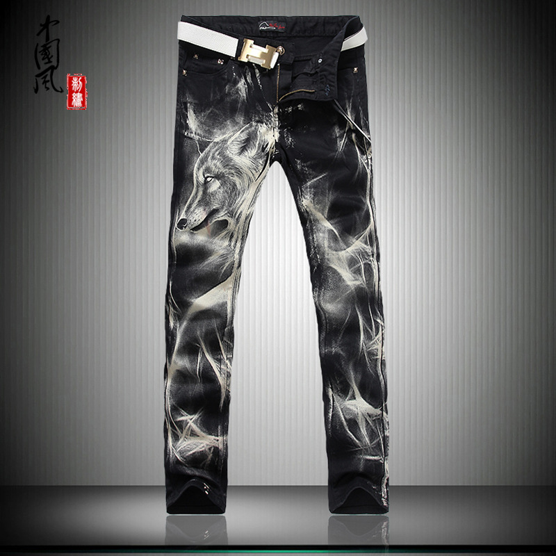 Paragraphs 2017 hot male thin jeans han edition printed stretch cultivate morality show thin Wolf personality pants