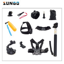 SUNGO HEAD STRAP SELFIE STICK CHEST STRAP CAR SUCTION CUP ction Cam Accessories Set for sjcam GoPro hero 4 5 SJCAM for XIAOMI YI