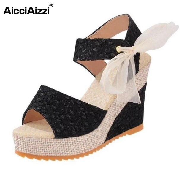 f92509270561 Ladies Wedges Sandals Women Platform Ribbon Sandalopen Toe High Wedges  Summer Shoes Beach Vacation Female Footwears Size 35-40