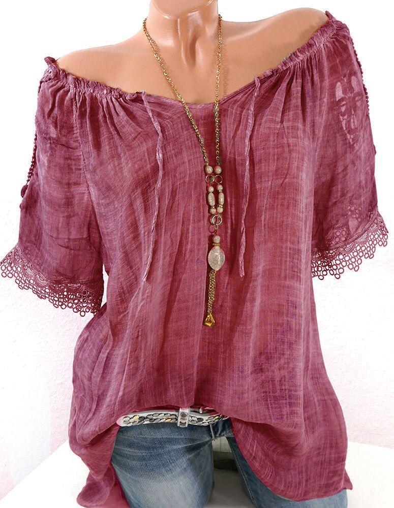 Summer Women Blouse Lace Up Shirt Short Sleeve Off Shoulder Tops Slash Neck Loose Casual Basic Plus size 5xl Blouses Shirts 2018 3