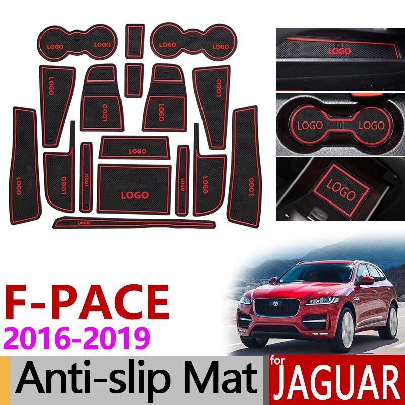 Anti-Slip Porte Fente Tapis En Caoutchouc Coaster pour Jaguar F-Rythme X761 2016 2017 2018 2019 F Rythme FPace Accessoires De Voiture Autocollants 17 pcs