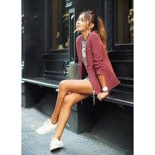 купить Womens  Spring Fashion Red Plaid Blazer Turn-down Collar Long Sleeve Suit Ladies Casual Slim jackets по цене 982.83 рублей