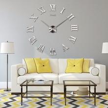 diy wall roman clocks fashion 3d super big size mirror wall sticker clock home decoration living