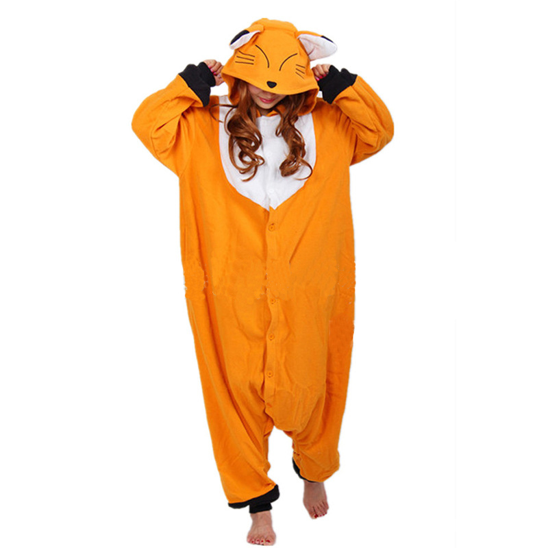 Fox Kigurumi Pajamas Onesie For Adults Animal Cartoon Onesies Orange One-piece Sleepwear Women Halloween Suits Cosplay Outfit
