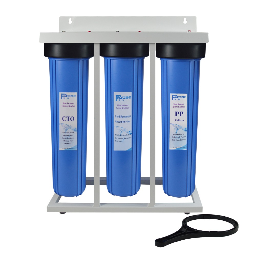 3-Stage Whole House Water Filtration System 1 1/2 inch port with 20 Big Blue Sediment ,Iron & Manganese Reducing Filter ,CTO 2 pack of 10 micron big blue 20x4 5 sediment water filter cartridge for whole house water filtration system 20 x 4 1 2