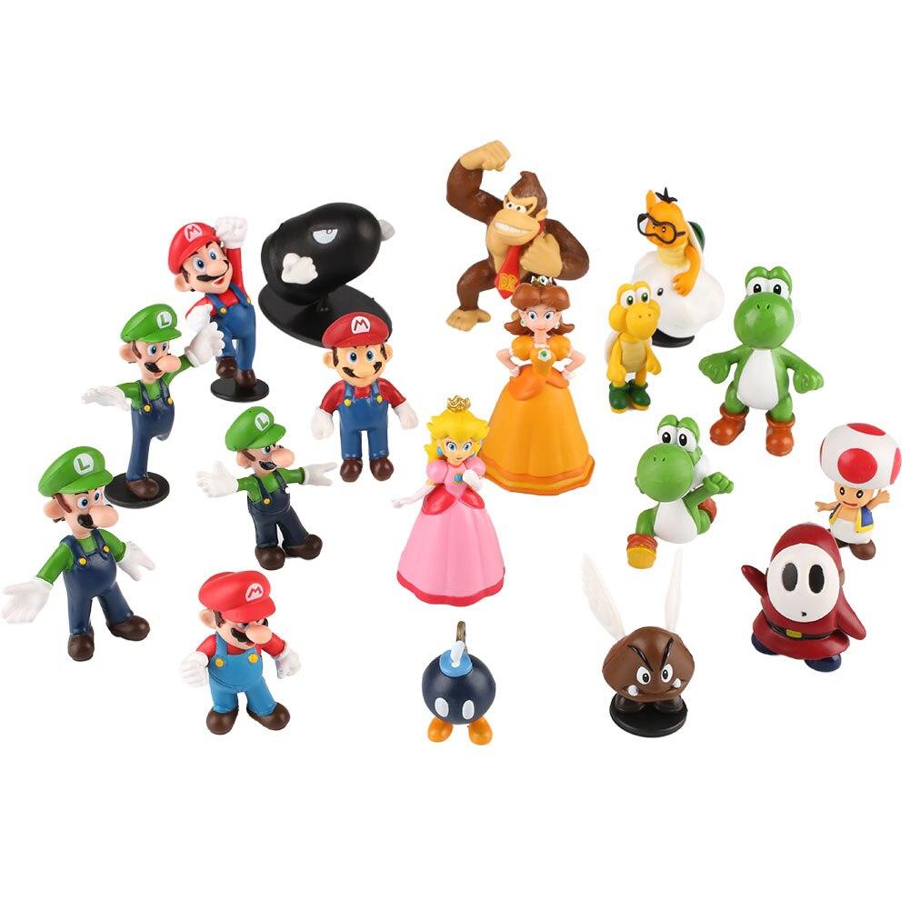 18 шт. Super Mario Bros Характер Мини Фигурку Набор Кукла Дисплей Подарок