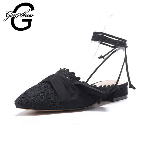GENSHUO Women Mules Flat Sandals Casual Shoes Ankle Strap Black Hollow Bowknot Pointed Toe Flat Sandals Shoes Close Toe Mules