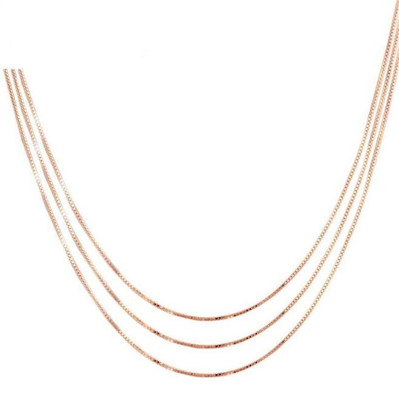 лучшая цена Women 100% Real 18K Gold Box Chain Necklace Rose Gold White Gold Yellow Gold 0.90g(40cm) 1.10g(45cm)
