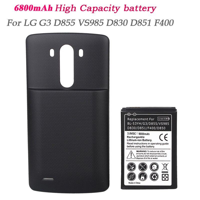 imágenes para Capacidad Real Para LG G3 Batería 6800 mAh Recargable Batería Del Teléfono Extender Reemplazo Bateria VS985 D855 F400 D830 D851 D850