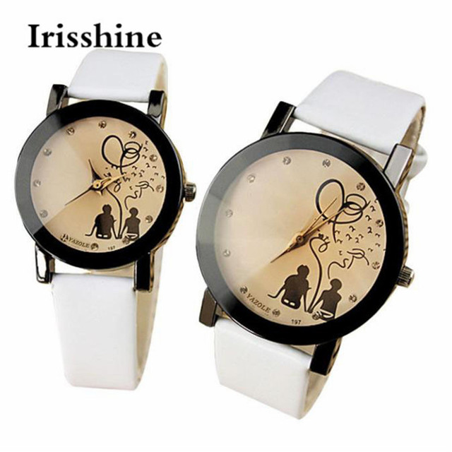 Irisshine lovers1Pair men and women New PU Leather Belt Watches Student Casual F