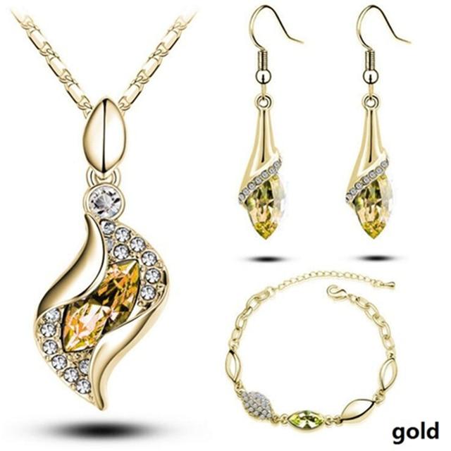 Conjunto de joyería africana para mujer, cuentas de Color dorado y plateado, accesorios para boda, collar de cristal colgante, pendientes, conjunto de anillo 3