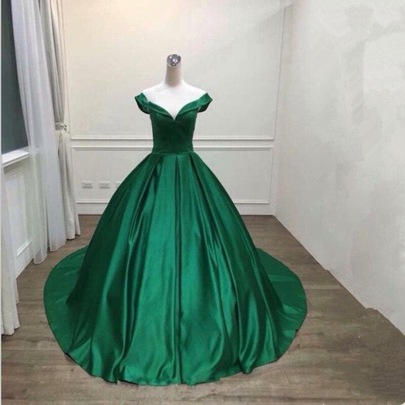 Robe De Soiree 2018 V-Neck Bodice Ball Gown Green Long Evening Dress Party Elegant Vestido De Festa Fast Shipping Prom Gowns