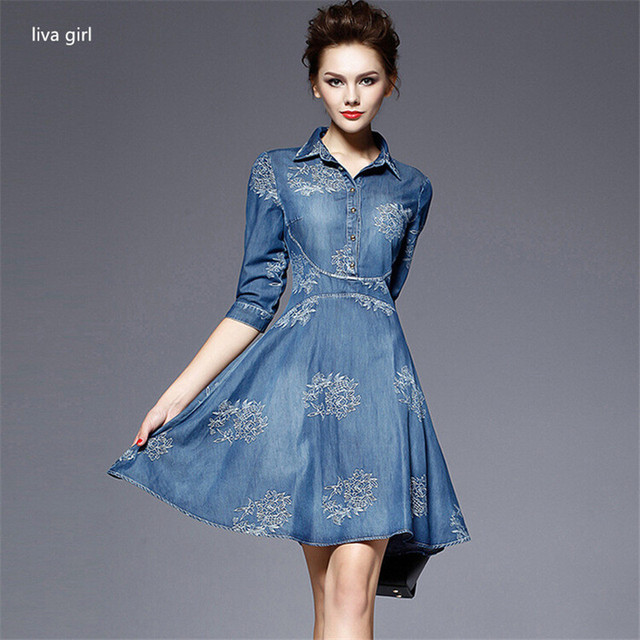 215bd7c34a3 2017 Paris fashion Denim Dress Women Half Sleeve Embroidery Dress Blue Denim  Jeans Dress For Women Ladies Casual Party Dress