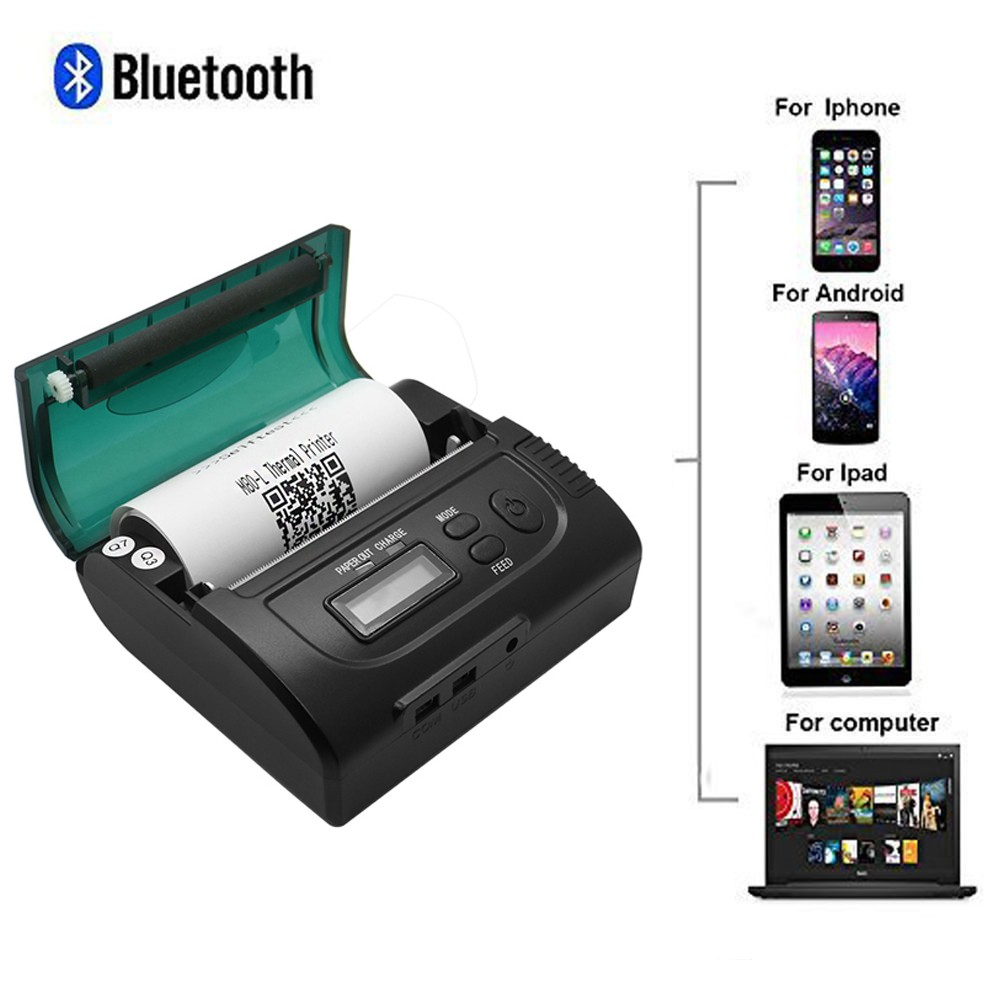 80mm Portable Bluetooth Wireless Mini Receipt Thermal Printer for Android IOS Mobile / Windows PC
