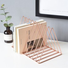 Ins Scandinavian Rose Gold Luxury Bookshelf Metal Geometry Newspapers and Magazines Storage Rack Home Decor Shelf