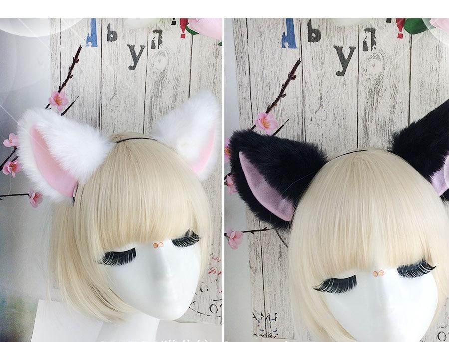 Fête Halloween Femmes Filles Lovely long fourrure chat oreilles Pince à Cheveux Anime Cosplay