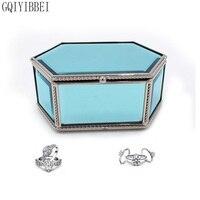 Gqiyibbei материал стекло синий шестиугольник Ювелирные Коробка для хранения металлический каркас для серьги колье браслеты Организатор наруч...