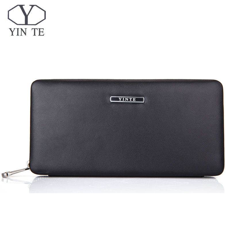 YINTE Phone Wallet Leather Vintage Solid Clutch Bag Brand Mens Wallet One Zipper Genuine Leather Bag T1605 2017 new brand mens wallet double zipper genuine leather bag vintage solid clutch bag phone cases male coins purses wallet