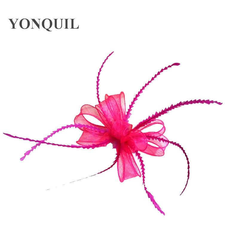 Элегантные головные уборы sinamay, Свадебные шляпы для невесты, высококачественные Коктейльные головные уборы, вечерние головные уборы, несколько цветов - Цвет: hot pink