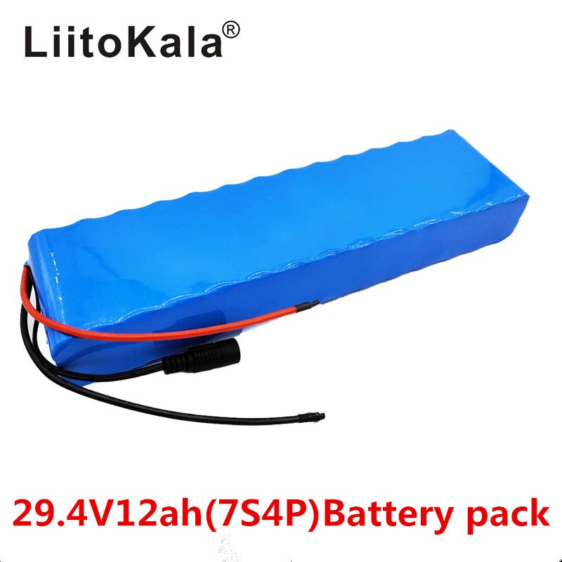 LiitoKala 7S4P 29.4v 12Ah electric bicycle motor ebike scooter 24v li ion battery pack <font><b>18650</b></font> lithium rechargeable batteries 15A image