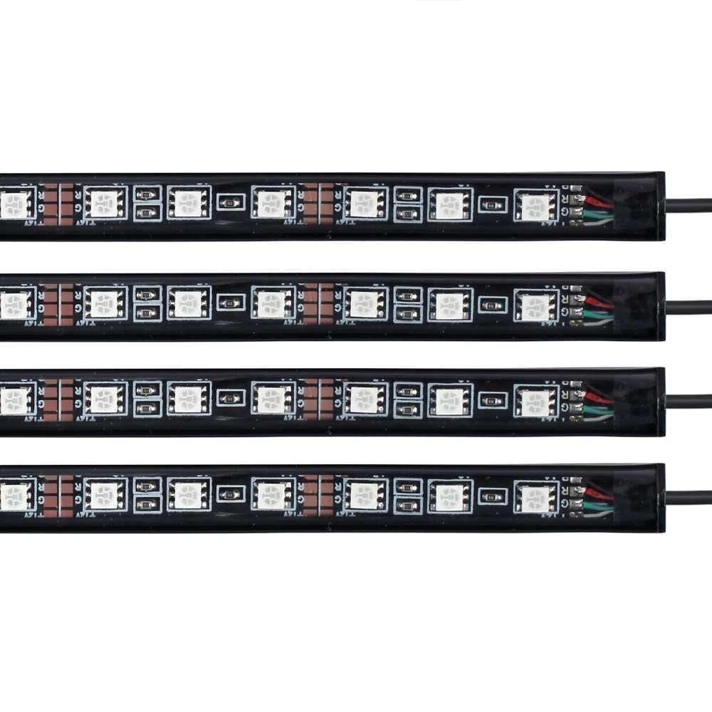 Plakat 12 V 4 sztuk RGB 8 kolorowy pasek LED pod samochód rury świecących podwozia systemem świecenia Neon światła pilot zdalnego