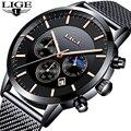 Мужские многофункциональные часы LIGE  спортивные Кварцевые водонепроницаемые часы с сетчатым ремешком  деловые часы
